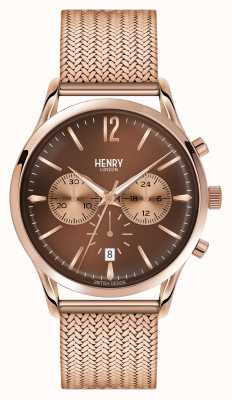 Henry London Harrow rose goud verguld mesh chronograaf HL41-CM-0056