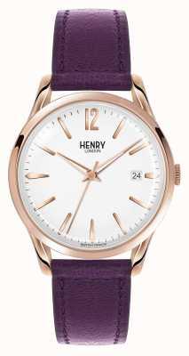 Henry London Hampstead paars lederen riem witte wijzerplaat HL39-S-0082
