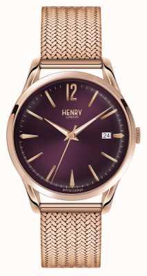 Henry London Hampstead rose goud verguld mesh paarse wijzerplaat HL39-M-0078