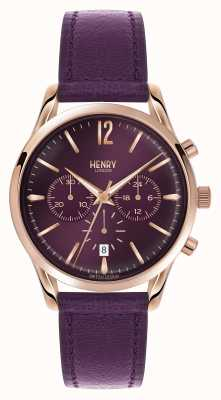 Henry London Hampstead paarse lederen band chronograaf HL39-CS-0092