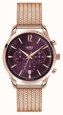 Henry London Hampstead rose goud verguld mesh chronograaf HL39-CM-0088