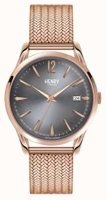 Henry London Finchley rose goud gaas grijze wijzerplaat HL39-M-0118