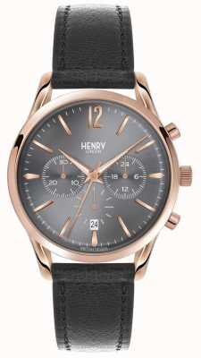 Henry London Finchley grijs lederen band chronograaf HL39-CS-0122