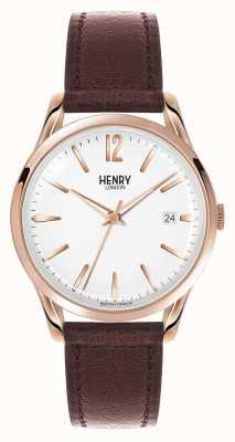Henry London Richmond bruin lederen band witte wijzerplaat HL39-S-0028