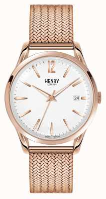 Henry London Richmond rose goud verguld mesh witte wijzerplaat HL39-M-0026