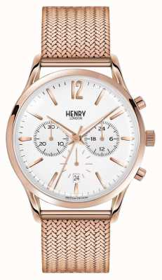 Henry London Richmond rose goud verguld mesh chronograaf HL41-CM-0040