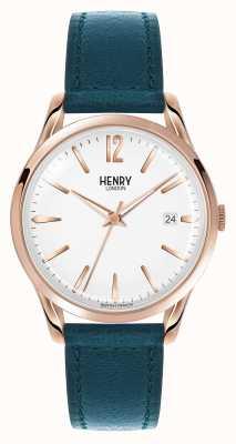 Henry London Stratford blauw lederen band witte wijzerplaat HL39-S-0132