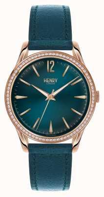 Henry London Stratford blauwe lederen band blauwe wijzerplaat HL39-SS-0140