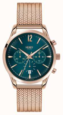 Henry London Stratford rose goud verguld mesh chronograaf HL39-CM-0142