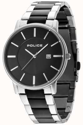 Police Mens london two tone armband zwarte wijzerplaat 14496JSTU/02M