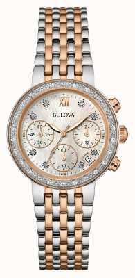 Bulova Vrouwen twee toon diamant set chronograaf 98W215