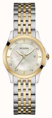 Bulova Vrouwen two tone diamant set zilveren wijzerplaat 98S148
