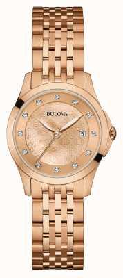 Bulova Vrouwen rose goud verguld diamant set dial 97S112