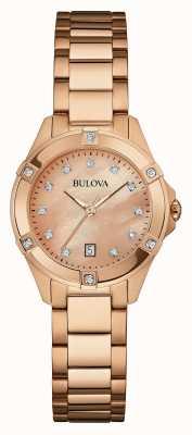 Bulova Vrouwen rose goud verguld rose goud wijzerplaat 97W101