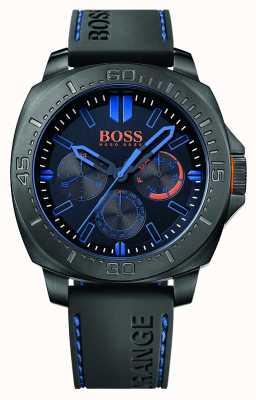 Hugo Boss Orange Mens sao paulo zwarte rubberen band zwarte wijzerplaat 1513242