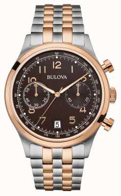 Bulova Heren two tone armband chronograaf zwarte wijzerplaat 98B248