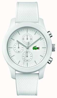 Lacoste Mens 12.12 chrono witte rubberen band witte wijzerplaat 2010823
