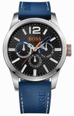 Hugo Boss Orange Mens paris blauwe rubberen band zwarte wijzerplaat 1513250