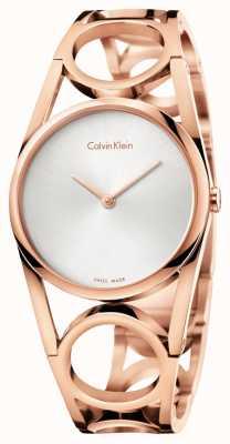 Calvin Klein Womens round rose goud pvd verguld zilveren wijzerplaat K5U2S646