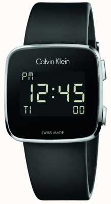 Calvin Klein Unisex toekomstige digitale zwarte rubberen band K5C21TD1