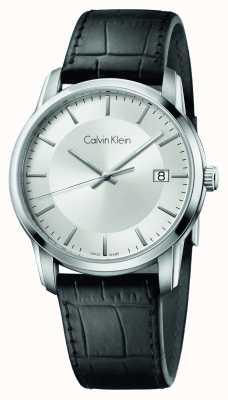 Calvin Klein Mens oneindige zwart lederen band zilveren wijzerplaat K5S311C6