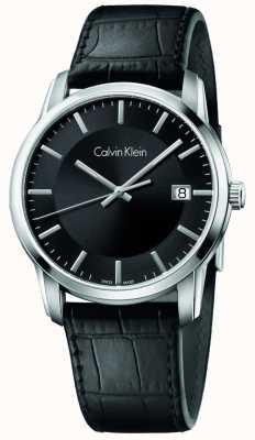 Calvin Klein Mens oneindige zwart lederen band zwarte wijzerplaat K5S311C1