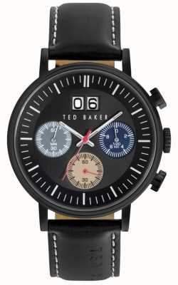 Ted Baker Mens zwart lederen band chrono zwarte wijzerplaat TE10023471