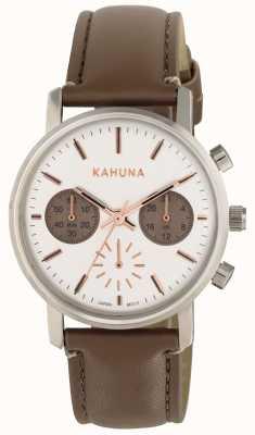 Kahuna Vrouwen bruine band witte wijzerplaat KLS-0318L