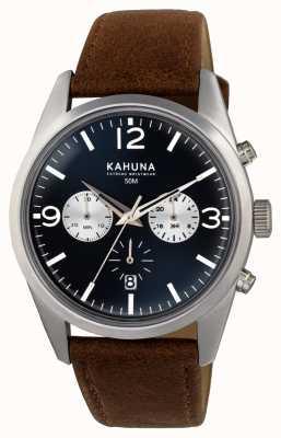 Kahuna Heren bruine band chrono blauwe wijzerplaat KCS-0011G