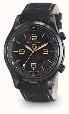 Elliot Brown Mens Canford zwart lederen zwarte wijzerplaat 202-008-L11