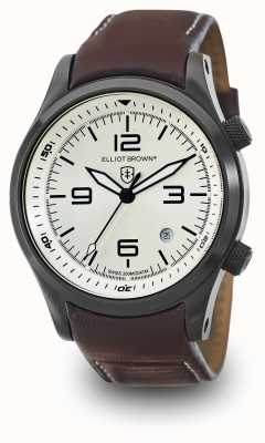 Elliot Brown Mens canford Oxblood leer zilveren wijzerplaat 202-009-L05