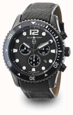 Elliot Brown Mens Bloxworth zwart lederen zwarte wijzerplaat 929-001-L01