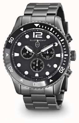 Elliot Brown Heren Bloxworth gun metal plated zwarte wijzerplaat 929-001-B05