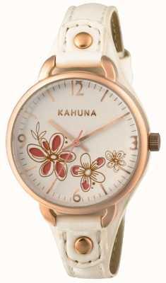 Kahuna Vrouwen witte lederen band witte wijzerplaat KLS-0312L