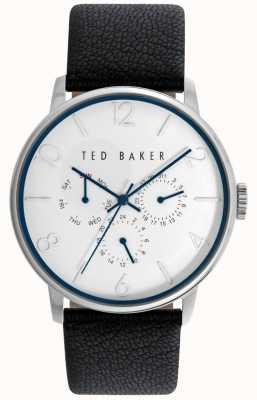 Ted Baker Mens zwart lederen band witte wijzerplaat TE10023491