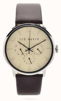 Ted Baker Mens bruin lederen band crème wijzerplaat TE10023493