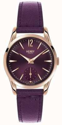 Henry London Vrouwen Hampstead paarse lederen paarse wijzerplaat HL30-US-0076