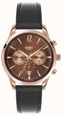 Henry London Unisex eg zwart lederen band bruine wijzerplaat HL39-CS-0054