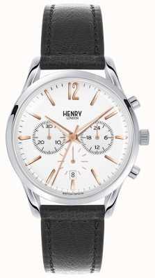 Henry London Unisex highgate zwart lederen witte wijzerplaat HL39-CS-0009