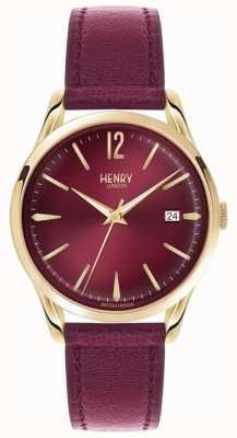 Henry London Unisex Holborn bordeaux leer bordeaux wijzerplaat HL39-S-0066