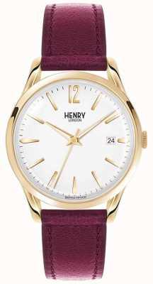 Henry London Unisex Holborn bordeaux lederen witte wijzerplaat HL39-S-0064