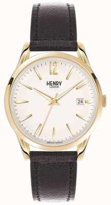 Henry London Unisex westminster zwart lederen witte wijzerplaat HL39-S-0010
