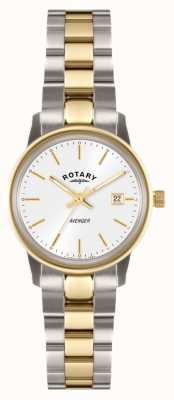 Rotary Vrouwen wreker two tone armband witte wijzerplaat LB02736/02