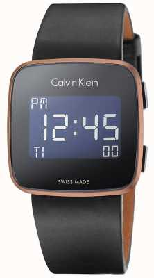 Calvin Klein Unisex toekomstige digitale zwart lederen band K5C11YC1