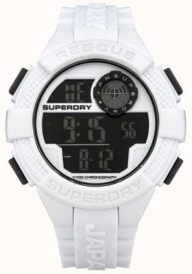 Superdry Mens radar digitale witte rubberen band SYG193W
