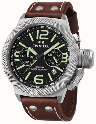 TW Steel Mens kantine 50mm chrono bruine lederen band CS24