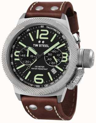 TW Steel Mens kantine 50mm chrono bruine lederen band CS24