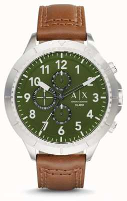 Armani Exchange Mens licht bruin lederen band AX1758