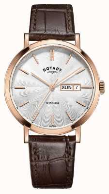 Rotary Mens bruin lederen band rose goud verguld GS05304/02