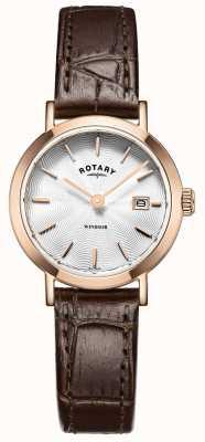 Rotary Womens bruin lederen band zilveren wijzerplaat LS05304/02